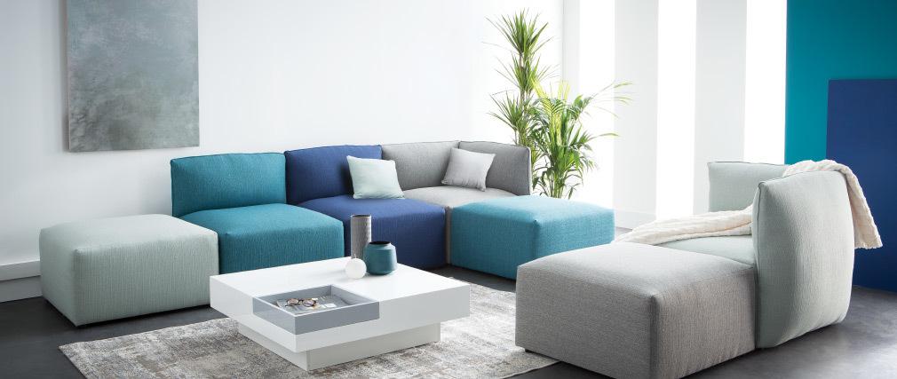 Angle de canapé design tissu vert menthe MODULO