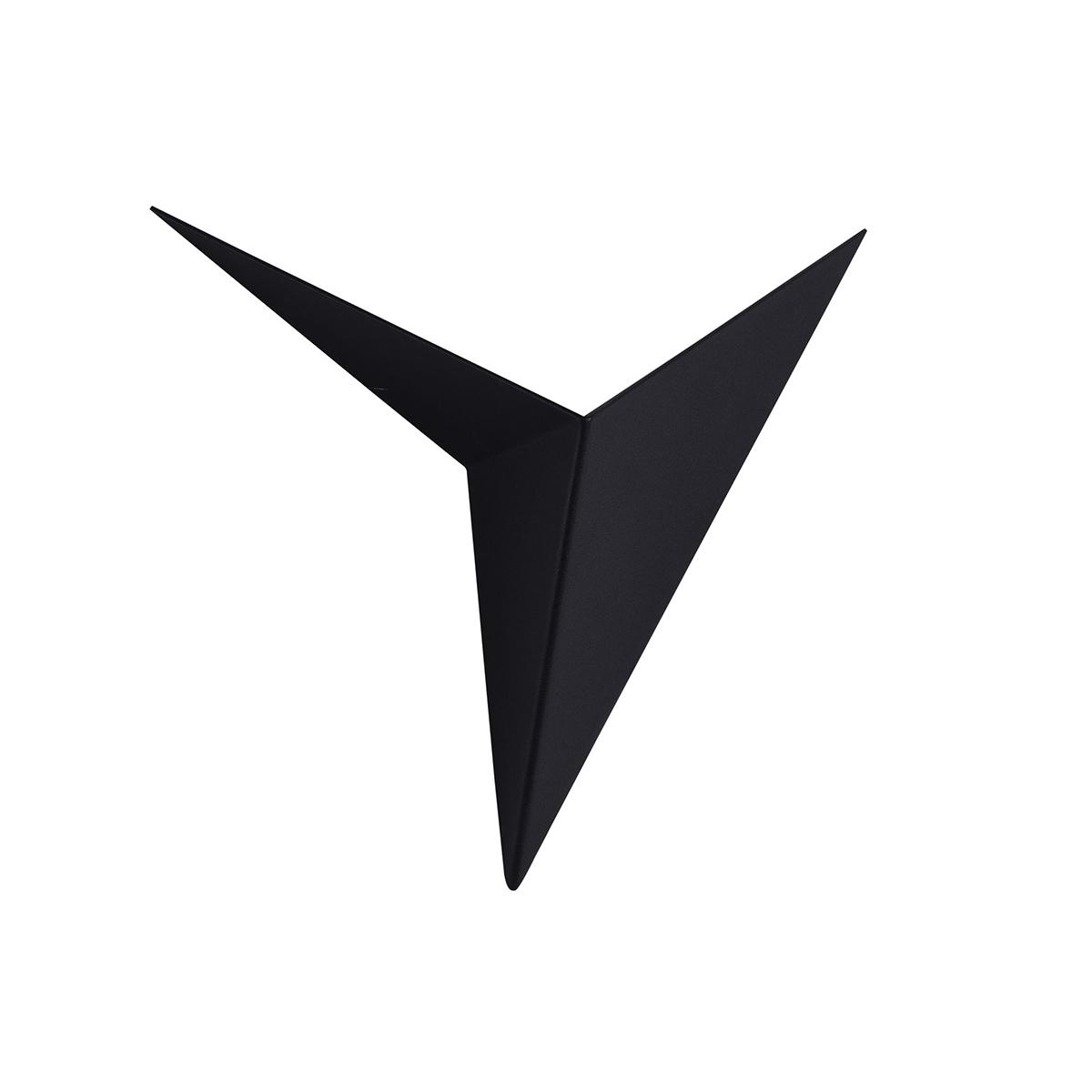 Applique d'extérieur origami en métal noir TRAME