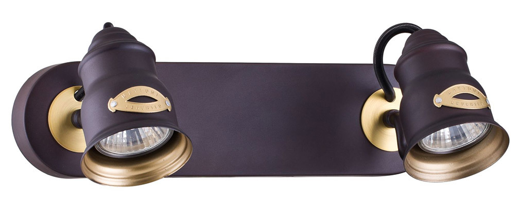 Applique murale design 2 lampes métal chocolat BORGO