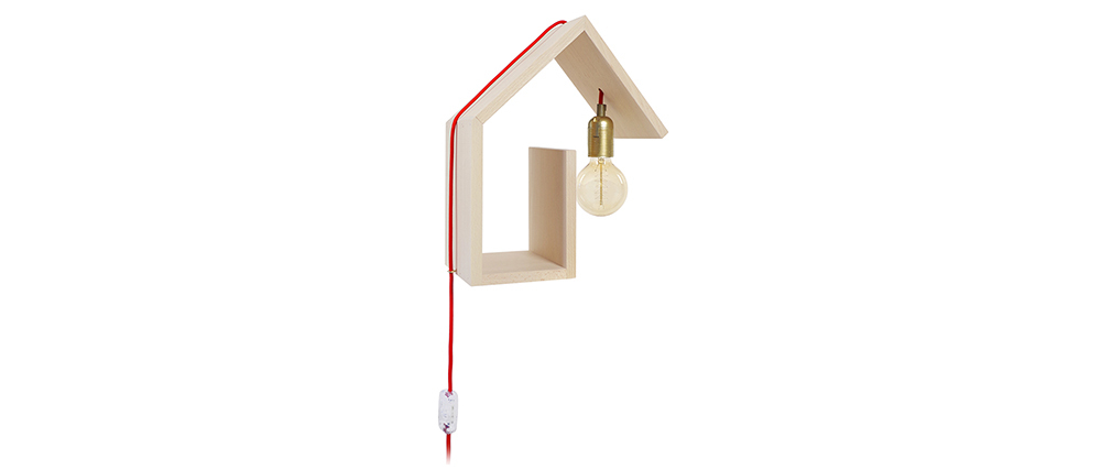 Applique murale design fixation droite cordon rouge HUT
