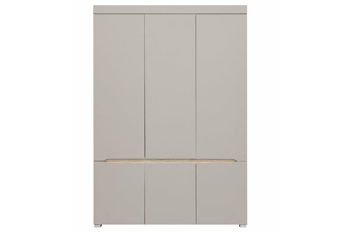 Armoire design 6 portes avec penderie et miroir WILLY - Miliboo