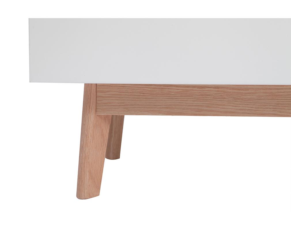 Armoire penderie scandinave blanc et bois clair KELMA