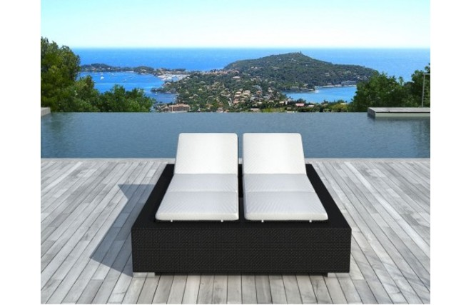 bain de soleil 2 places noir r sine tress e caraibes miliboo. Black Bedroom Furniture Sets. Home Design Ideas