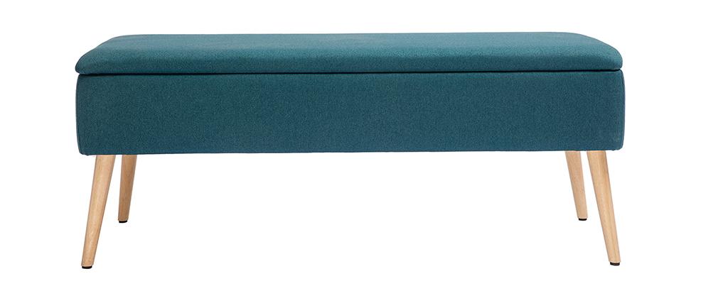 Banc coffre en tissu bleu canard et bois clair LARS