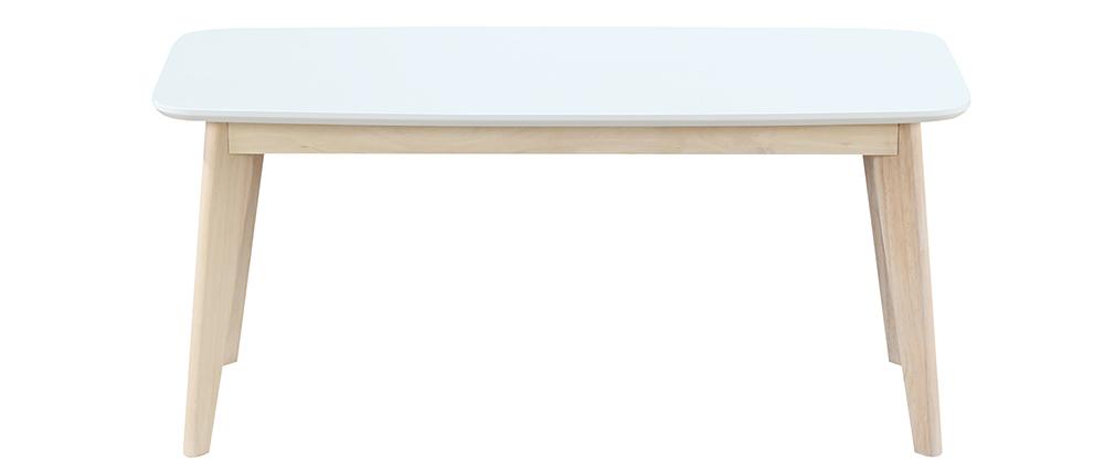 Banc Design 100 Cm Blanc Et Bois Leena Miliboo