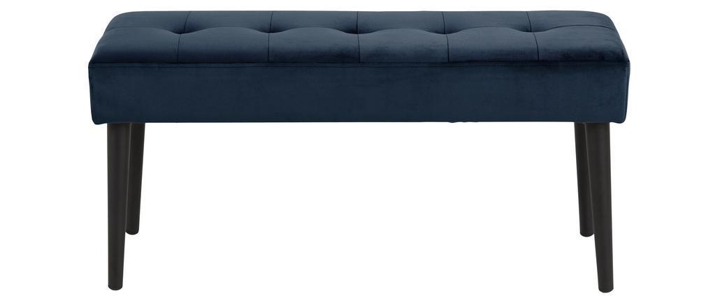 Banc design en velours bleu nuit capitonné GUESTA