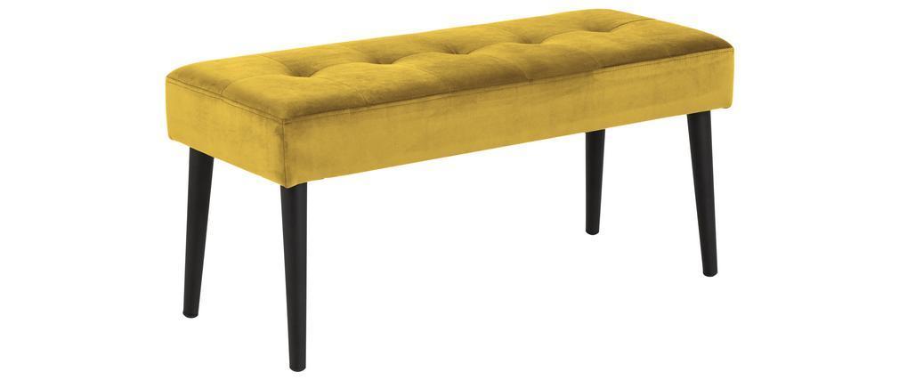 Banc design en velours jaune capitonné GUESTA