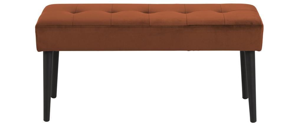 Banc design en velours orange capitonné GUESTA