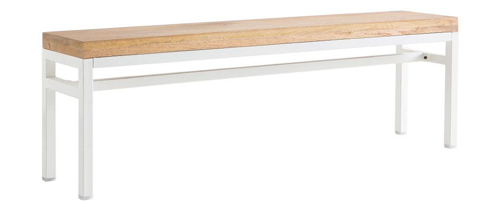 Banc design manguier et métal blanc 140 cm BOHO