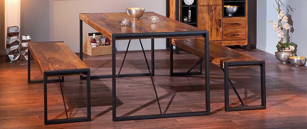 banc design metal et bois de sheesham 165cm carved miliboo. Black Bedroom Furniture Sets. Home Design Ideas