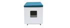 Banc maison de toilette pour chat bois clair et bleu canard O'MALLEY