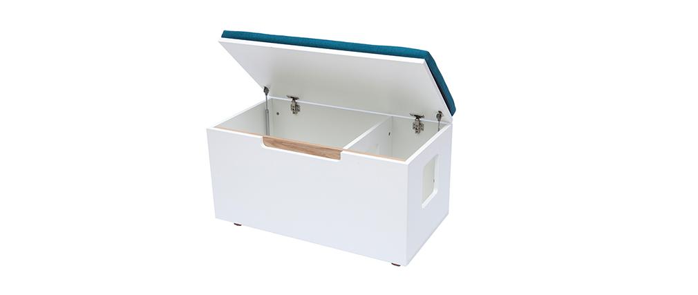Banc maison de toilette pour chat bois clair et bleu canard O