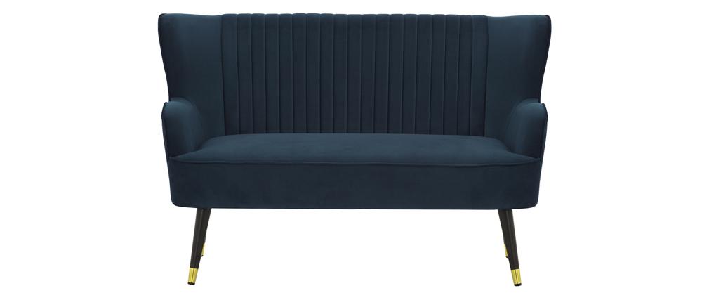 Banquette design en velours bleu foncé VERTIGO