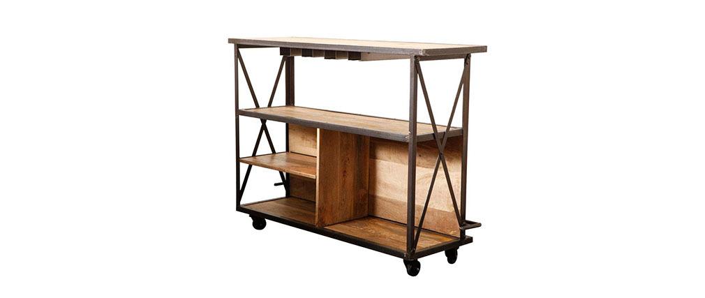 Bar design industriel bois massif INDUSTRIA
