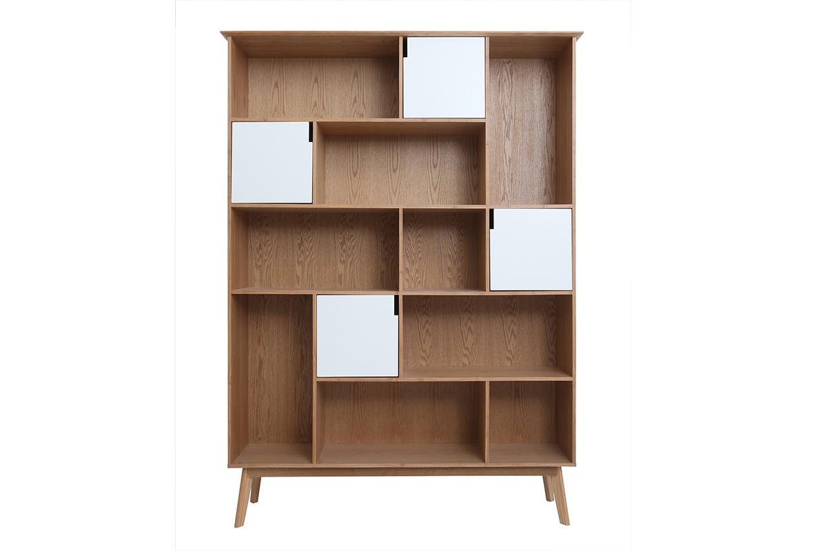 bibliotheque design avec portes blanc