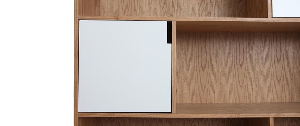 Bibliothèque design avec portes blanc et chêne INGRID