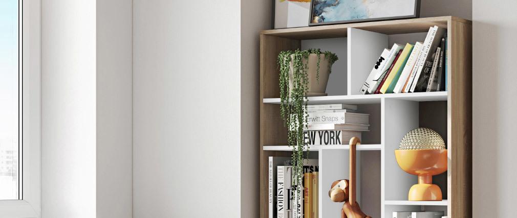 Bibliothèque design banche et bois MAZE