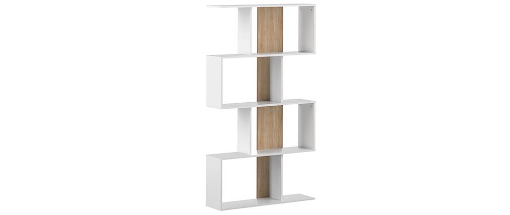 Bibliothèque design blanc et bois SOUL