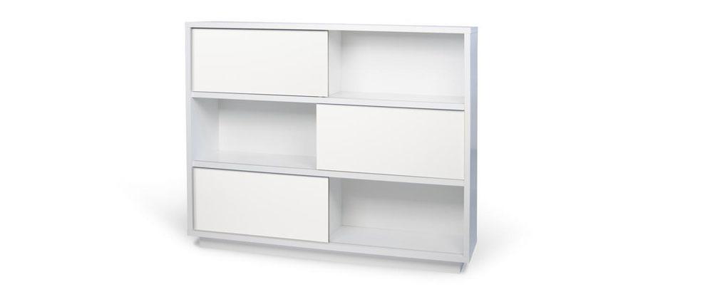 Biblioth que design blanc mat bayer miliboo for Bibliotheque design blanc