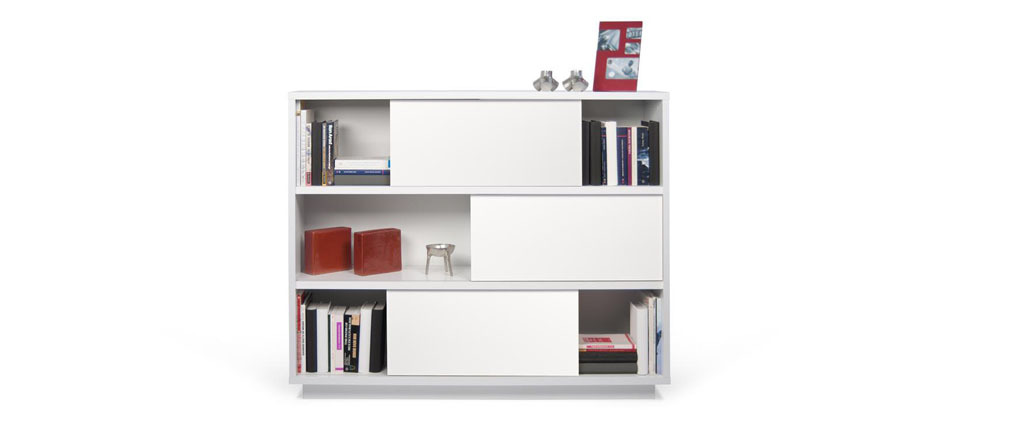 Biblioth que design blanc mat bayer miliboo - Bibliotheque design blanc ...