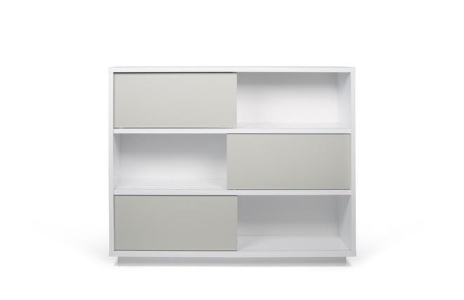 biblioth que design blanc mat et gris bayer miliboo. Black Bedroom Furniture Sets. Home Design Ideas