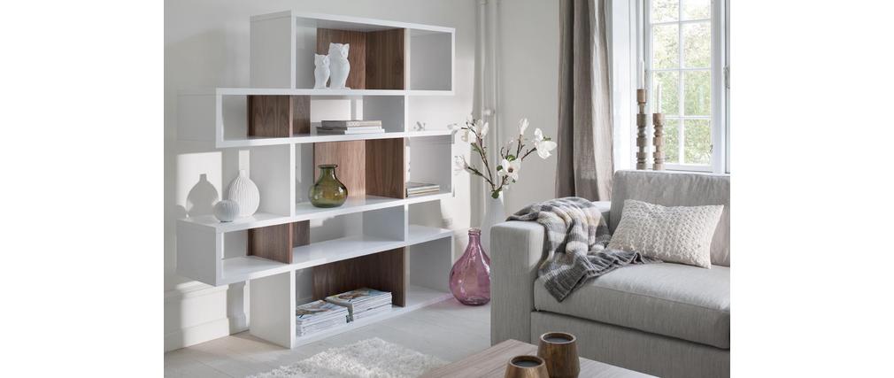 biblioth que design blanc mat et noyer 160cm meyer. Black Bedroom Furniture Sets. Home Design Ideas