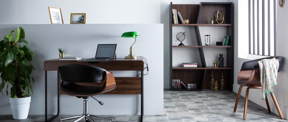 Bibliothèque design bois foncé et noir SAGAN
