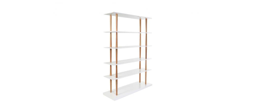 Bibliothèque design bois naturel et blanc 5 étagères GILDA