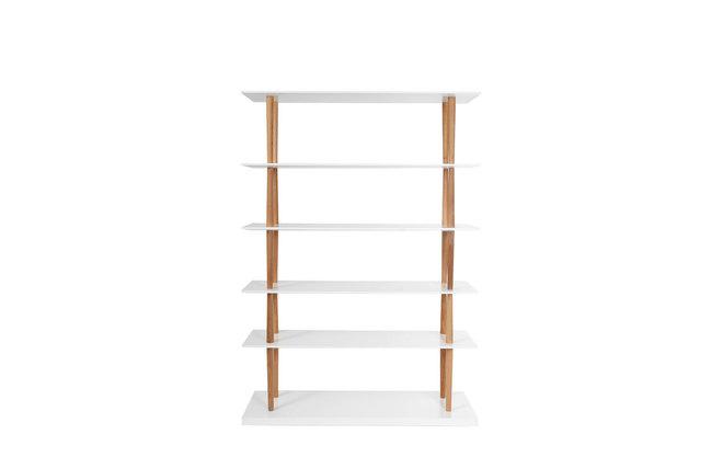 Biblioth que design bois naturel et blanc 5 tag res gilda miliboo - Bibliotheque en bois pas cher ...