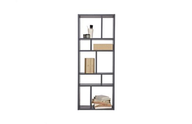 biblioth que design compartiment e en bois gris casym miliboo. Black Bedroom Furniture Sets. Home Design Ideas