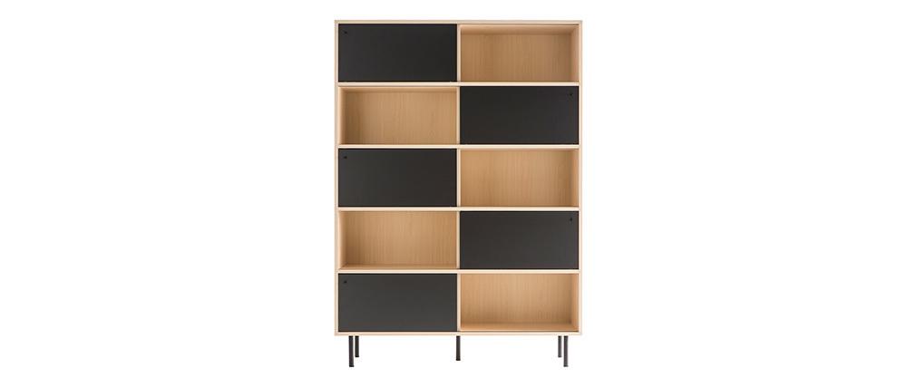 Bibliothèque design en bois avec portes coulissantes noires DOMINO