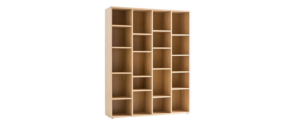 Bibliothèque design en bois couleur chêne RYTHM