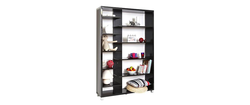 biblioth que design laqu e noire vixy miliboo. Black Bedroom Furniture Sets. Home Design Ideas