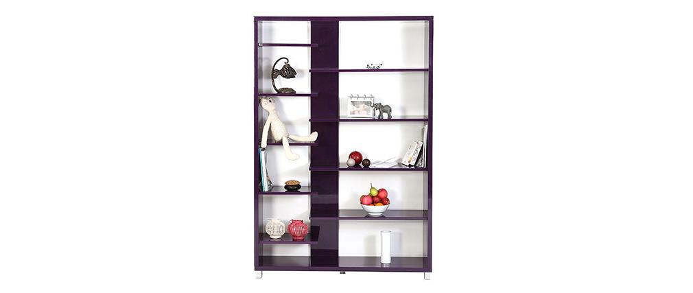 Biblioth que design laqu e violette vixy miliboo - Bibliotheque design laquee ...
