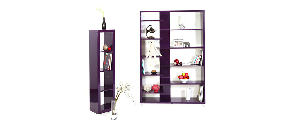 biblioth que design laqu e violette vixy miliboo. Black Bedroom Furniture Sets. Home Design Ideas