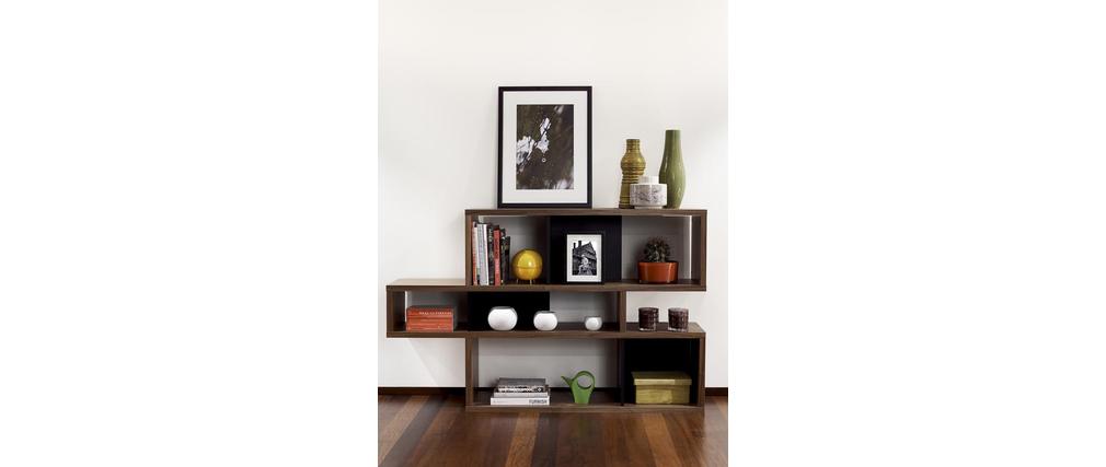 biblioth que design noyer et blanc mat 100cm meyer miliboo. Black Bedroom Furniture Sets. Home Design Ideas