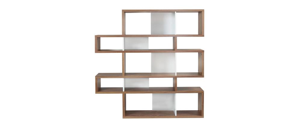 biblioth que design noyer et blanc mat 160cm meyer miliboo. Black Bedroom Furniture Sets. Home Design Ideas