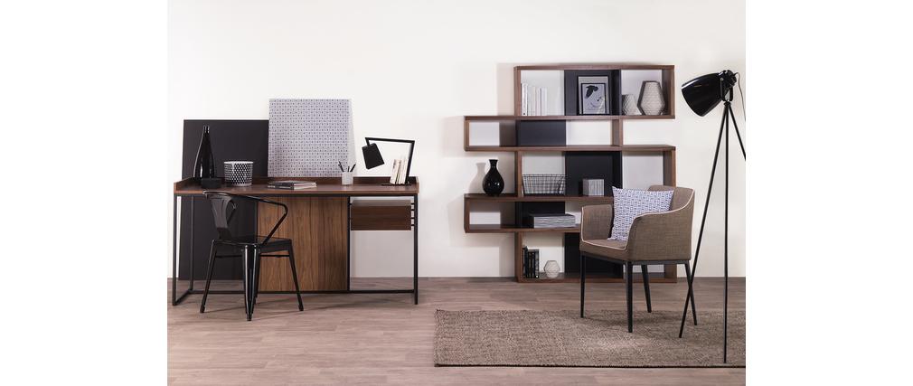 Biblioth que design noyer et noir mat 160cm meyer - Bibliotheque design soldes ...