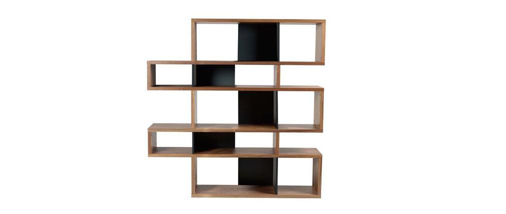 Bibliothèque design Noyer et noir mat 160cm MEYER