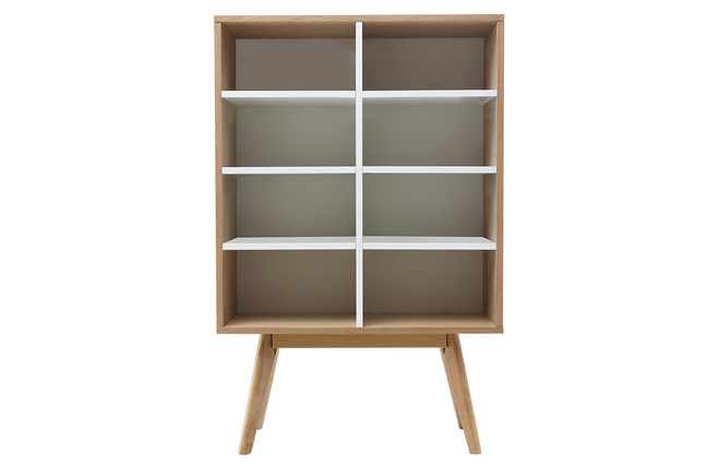 Bibliothèque design scandinave chêne et blanc helia miliboo