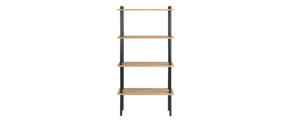 Bibliothèque en métal noir et bois clair STAIR