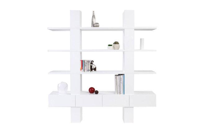 Biblioth que tag re design laqu e blanche nathan miliboo - Bibliotheque blanche design ...
