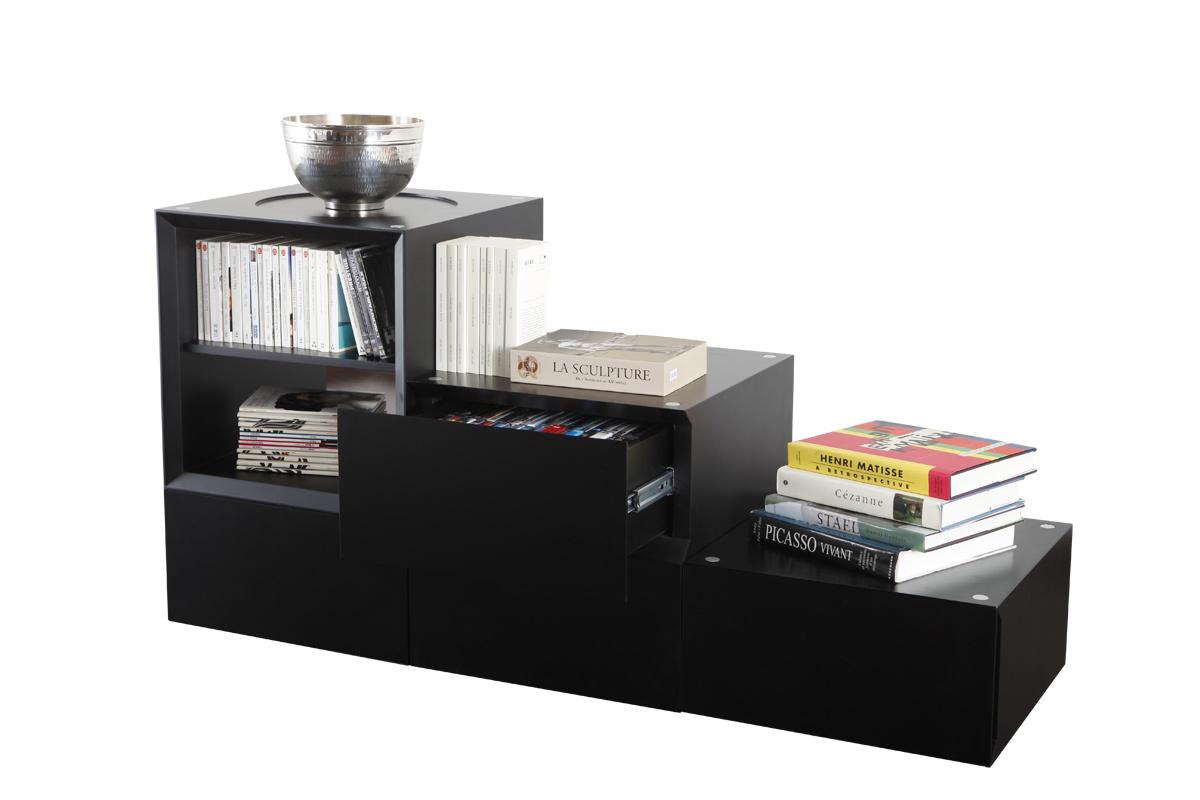 Biblioth que meuble rangement 2 tag res 4 tiroirs noir up - Meuble etagere noir ...