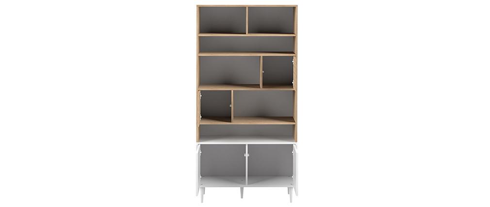 Bibliothèque scandinave 10 casiers bois et blanc STRIPE