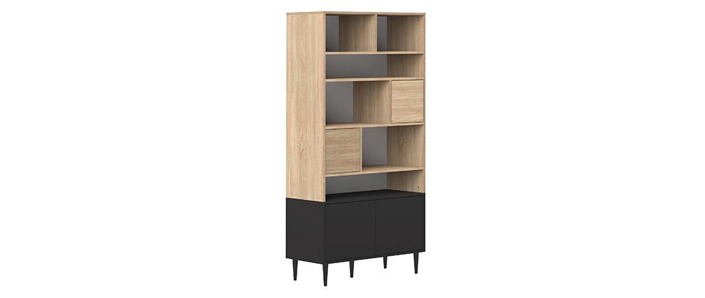 Bibliothèque scandinave 10 casiers bois et noir STRIPE