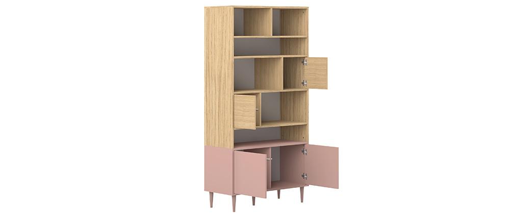 Bibliothèque scandinave 10 casiers bois et rose STRIPE