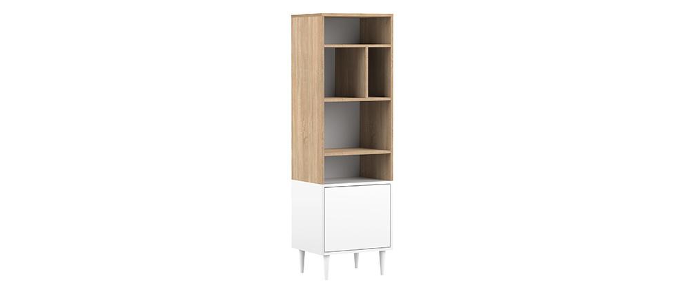 Bibliothèque scandinave 6 casiers bois et blanc STRIPE