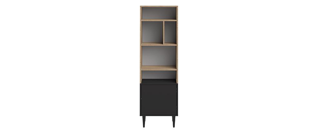 Bibliothèque scandinave 6 casiers bois et noir STRIPE