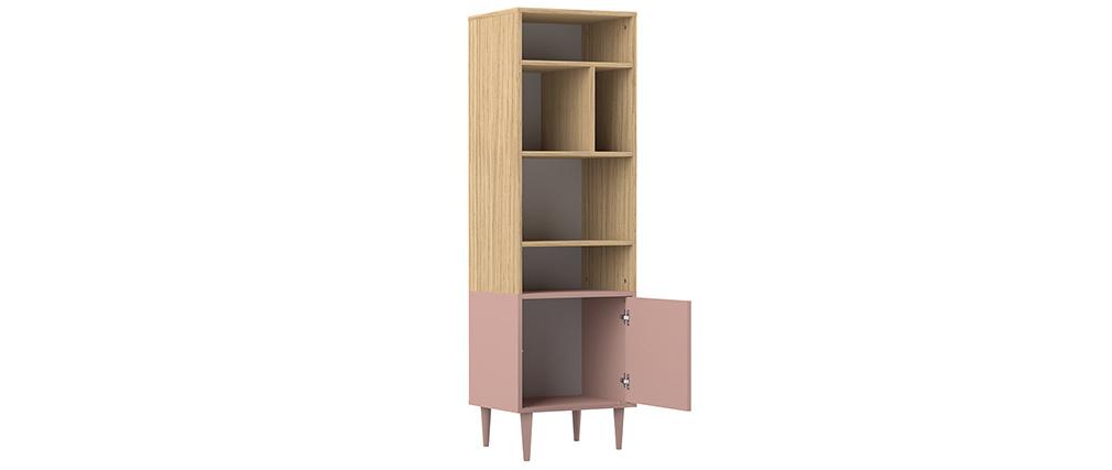 Bibliothèque scandinave 6 casiers bois et rose STRIPE