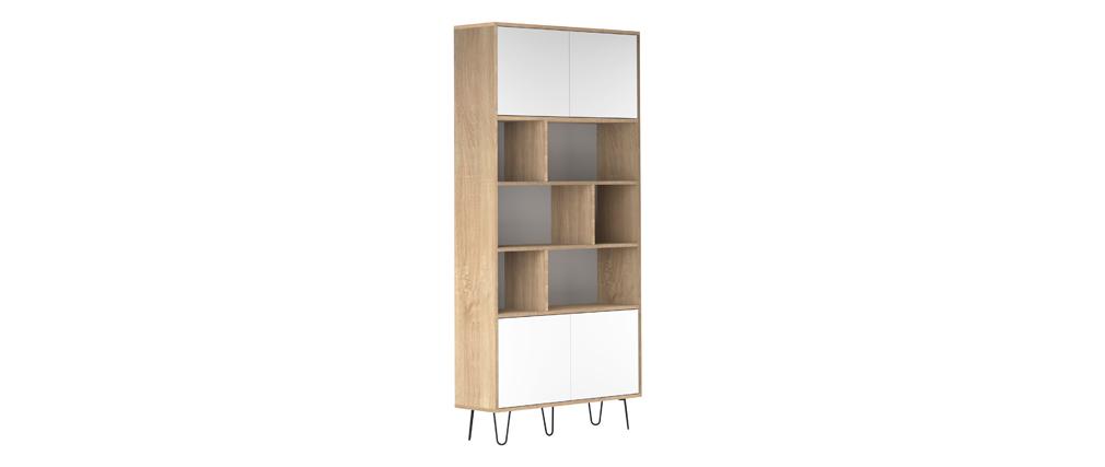 Bibliothèque scandinave bois et blanc LUMY